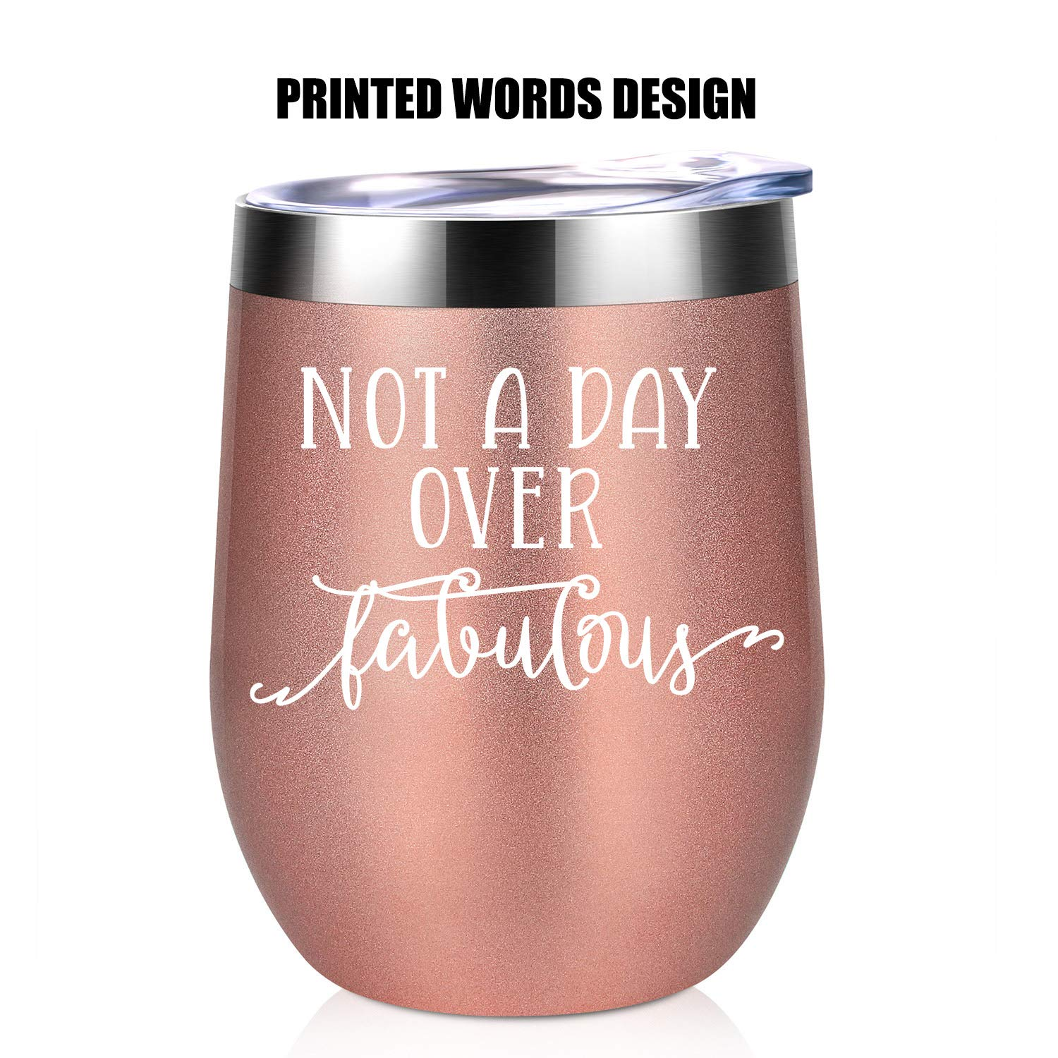 Not a Day Over Fabulous   Funny Birthday Wine Gifts Ideas for Women, BFF, Best Friends, Coworkers, Her, Wife, Mom, Daughter, Sister, Aunt   Coolife 12oz Stemless Insulated Wine Tumbler with Lid by Coolife (Image #8)