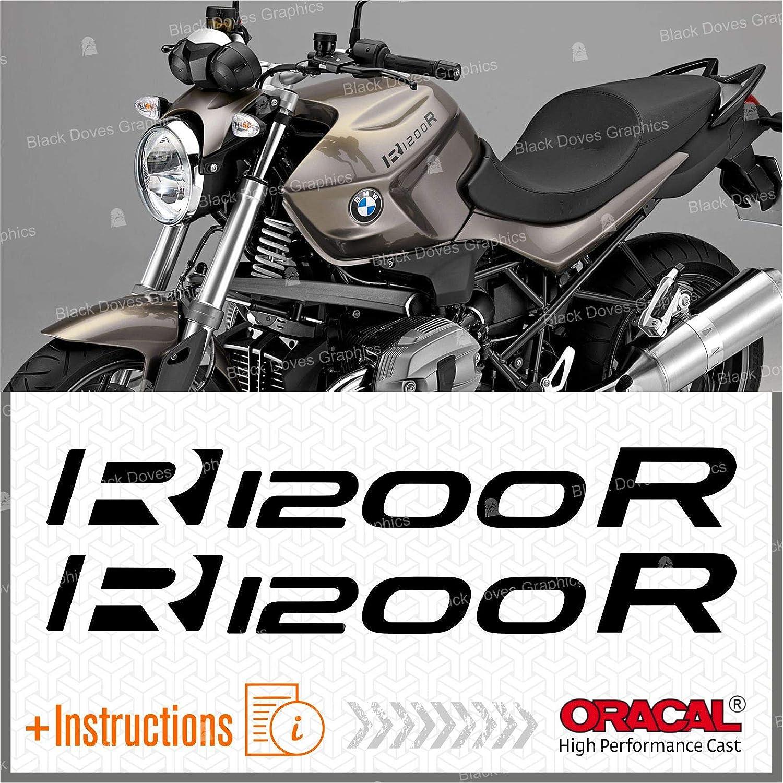 2 Pegatinas para Moto R 1200 R Adesivi Pegatina R1200 R AutoCOLLANT VINIL Motorcycle PARASERBATOIO Black Doves Graphics R1200R