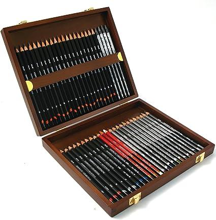 Derwent Sketching - Set de 48 lápices para bocetos y esbozos, con estuche de madera, multicolor: Amazon.es: Oficina y papelería