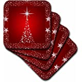 3dRose cst_164753_3 Silver Star Christmas Tree with Holiday Red Background Ceramic Tile Coasters (Set of 4)