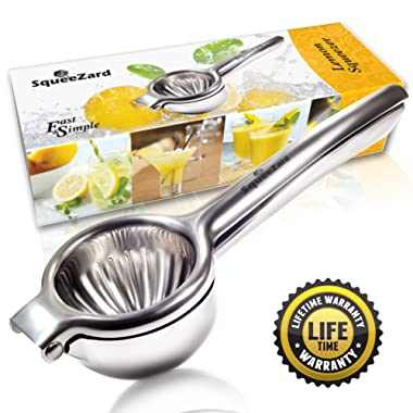 SqueeZard Squeezer-Professional P Big Size Citrus, Lime and Small Orange Manual Juicer - Stainless Steel Lemon Press - Bonus E-book with Recipes Large Gray