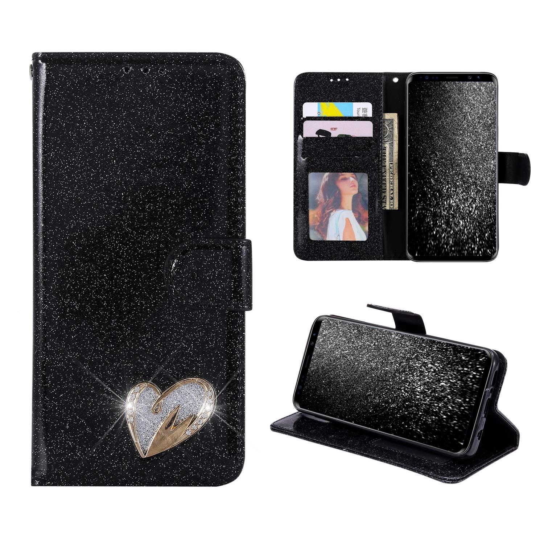 Coque pour Samsung Galaxy S8 Plus Or Rose, Misstars Housse à Rabat Portefeuille PU Cuir Luxe Bling Glitter Paillettes Étui de Protection avec Coeur d'amour Design Fonction Stand Slots de Cartes et Fermoir Magnétique Antichoc pour Galaxy S8 Plus