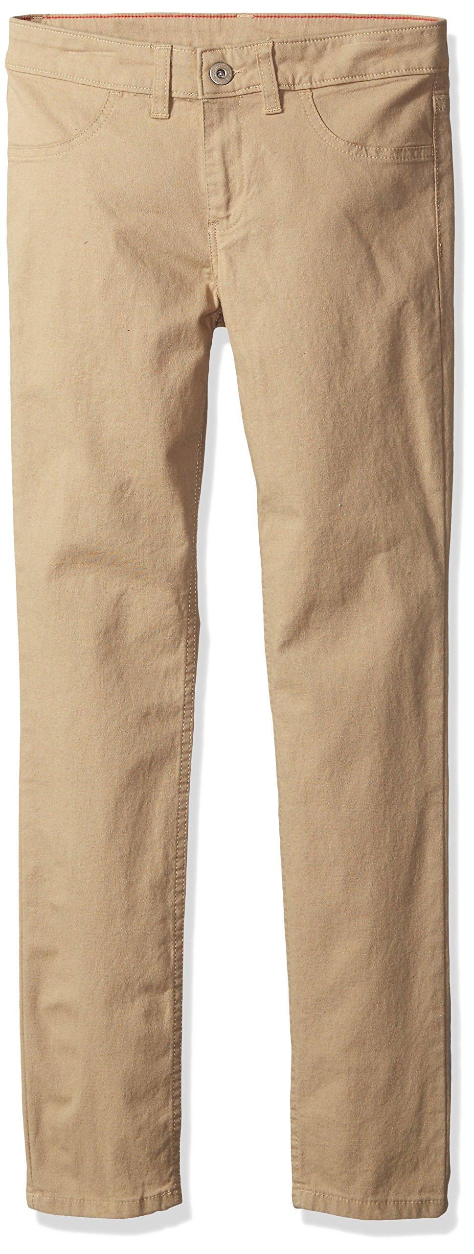 dickies Girls' Big Super Skinny Stretch Pant, Rinsed Desert Sand, 14 by dickies