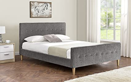 Tela de chenilla tapizado marco de la cama doble King size colchón opción patas de madera