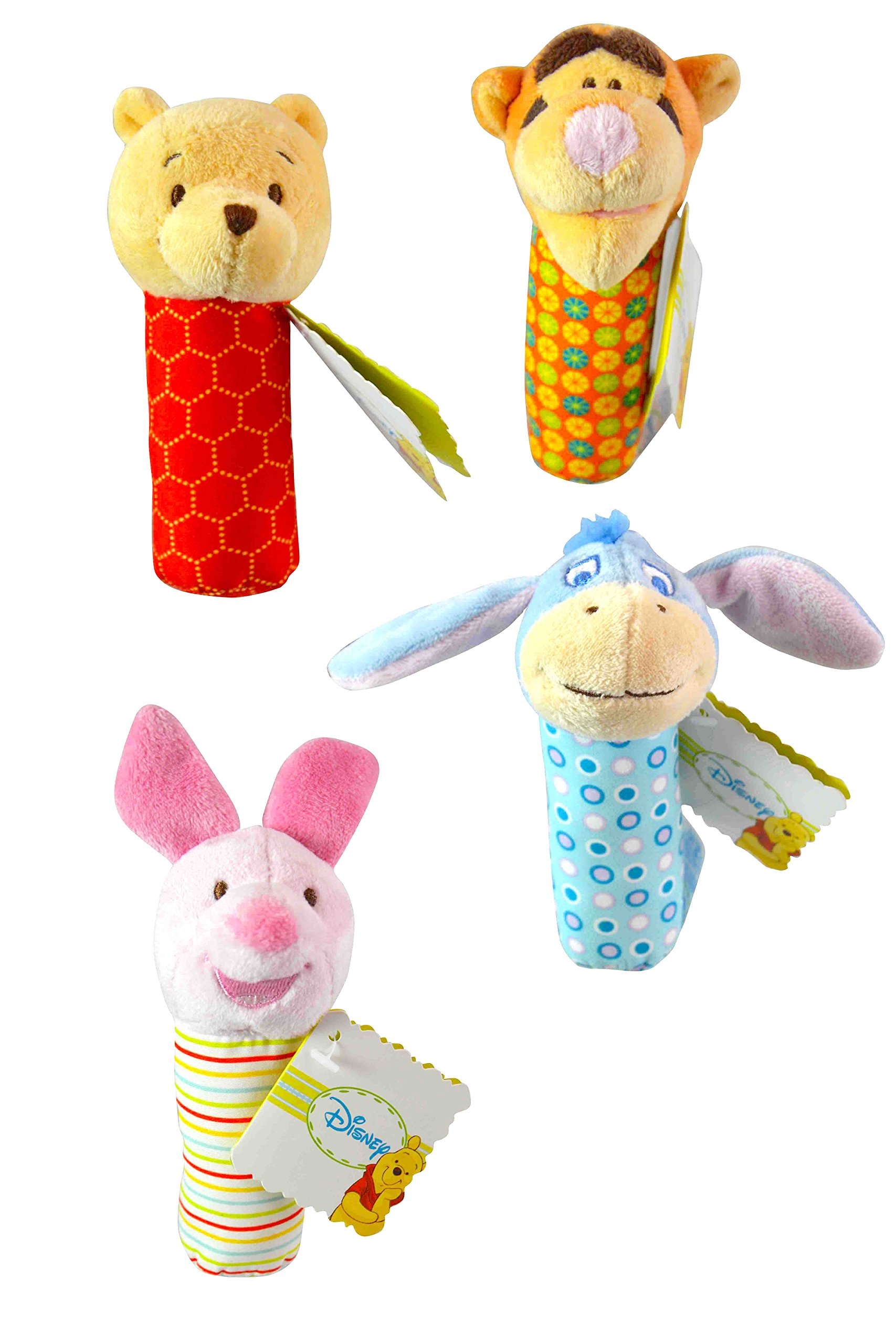 Disney Winnie the Pooh 4-Piece Plush Rattle Stick Collection- Pooh, Tigger, Eeyore, Piglet