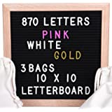 Vintage Black Felt Changeable Letter Board 10x10 Inches. 870 Plastic Letters. 3 Popular Colors, GOLD-PINK-WHITE. Hang Sign or Display. 3 Free Bags. Oak Frame. Love Messages and Rave Retrogram Boards