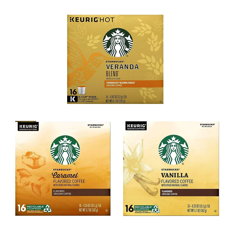 Starbucks K Cups Variety Pack of 3 Flavors - Veranda Blend, Vanilla, and Caramel - 16 K Cups Pods Per Flavor - 48 Starbucks Coffee K Cups Total - Bulk Light Roast Coffee