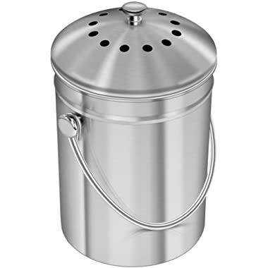 Utopia Kitchen Stainless Steel Compost Bin for Kitchen Countertop - 1.3 Gallon Compost Bucket Kitchen Pail Compost with Lid - Includes 1 Spare Charcoal Filter