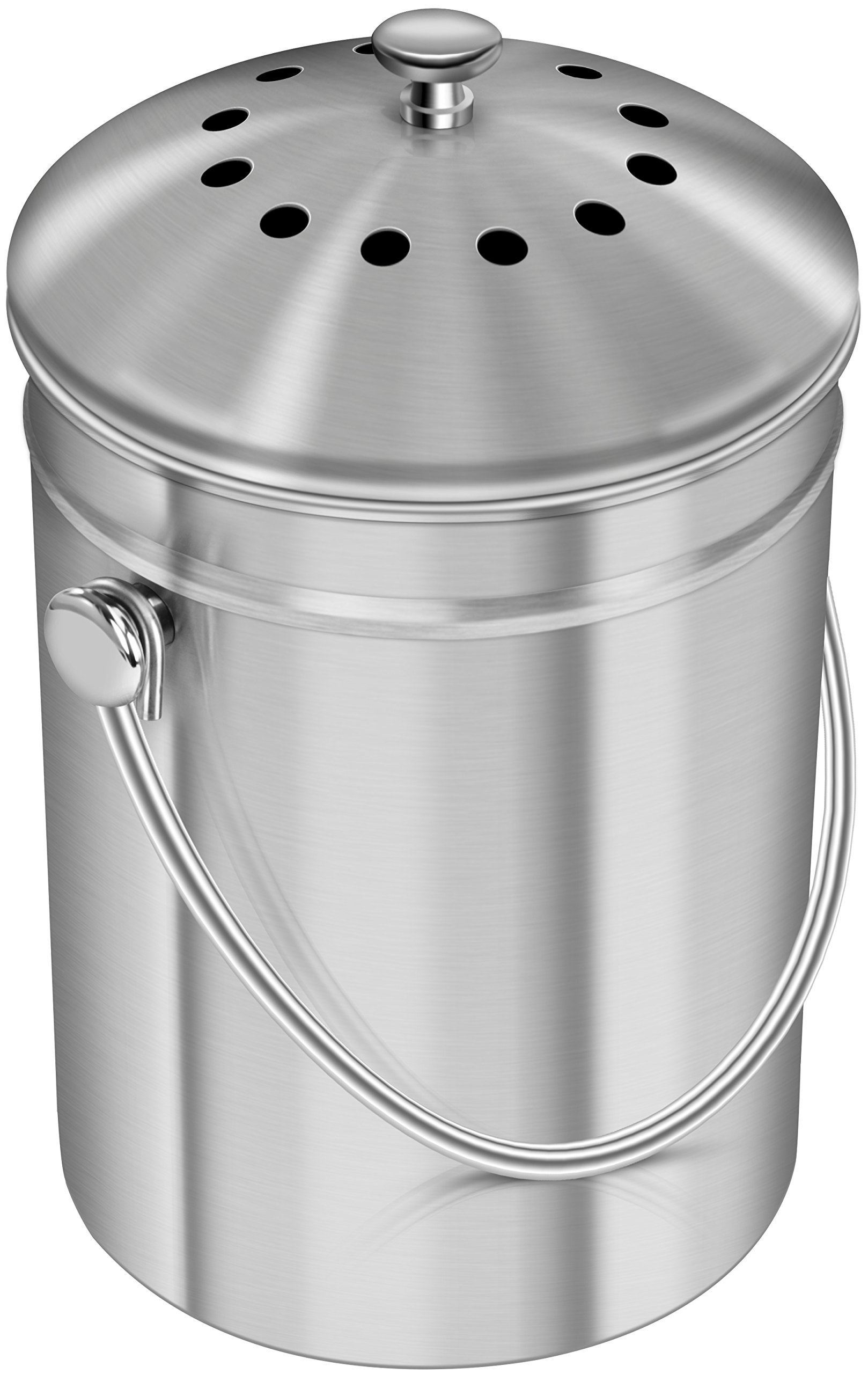 Utopia Kitchen Stainless Steel Compost Bin for Kitchen Countertop - 1.3 Gallon Compost Bucket Kitchen Pail Compost with Lid - Includes 1 Spare Charcoal ...