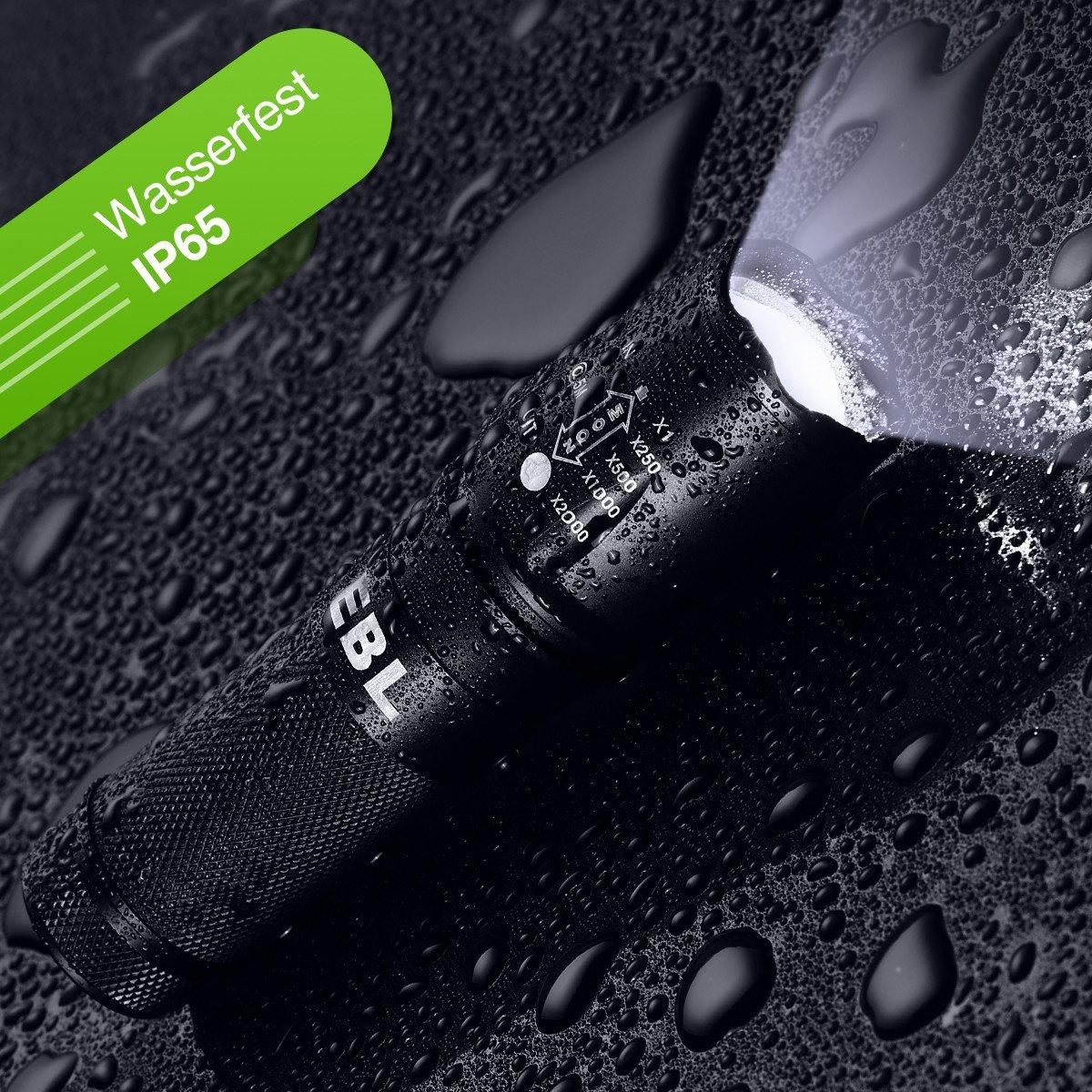 EBL Superhell CREE LED 1200 Lumen Taschenlampe mit 5 Leuchtungsmodi, Wasserfest und fexibel für Indoor und Outdoor