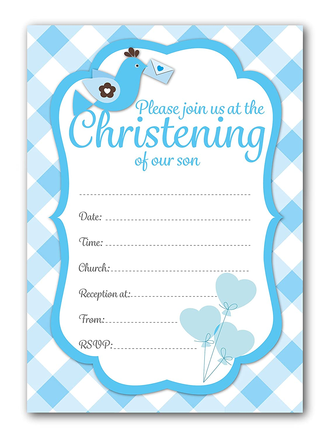 Christening Invitations Blue Check Design With Envelopes