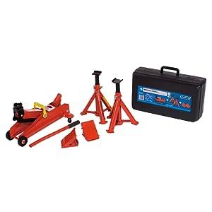 Car plus COMB001 – Kit de cric hydraulique avec mallette, deux béquilles et deux tampons de sécurité
