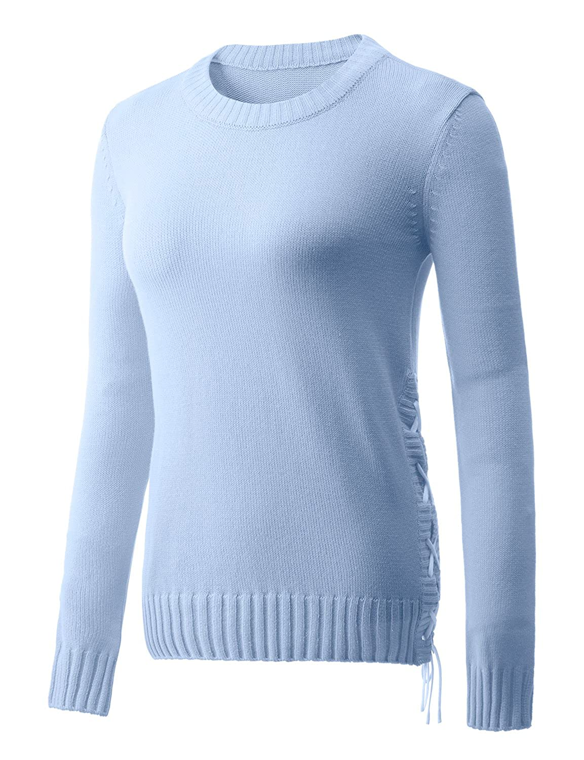 REGNA X Basic women's crew neck rope knit sweater