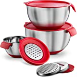 Mitbak Stainless Steel Mixing Bowls with Red Lids & Grater Attachments [Set of 3] | High-End Kitchen Cookware & Bakeware | Nesting Bowl Has Non-Slip Base & Measurement Marks | 2, 3, 5, Quarts