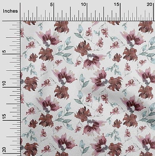 oneOone Lycra De Poliéster Tela flor y hojas Acuarela Quilting ...