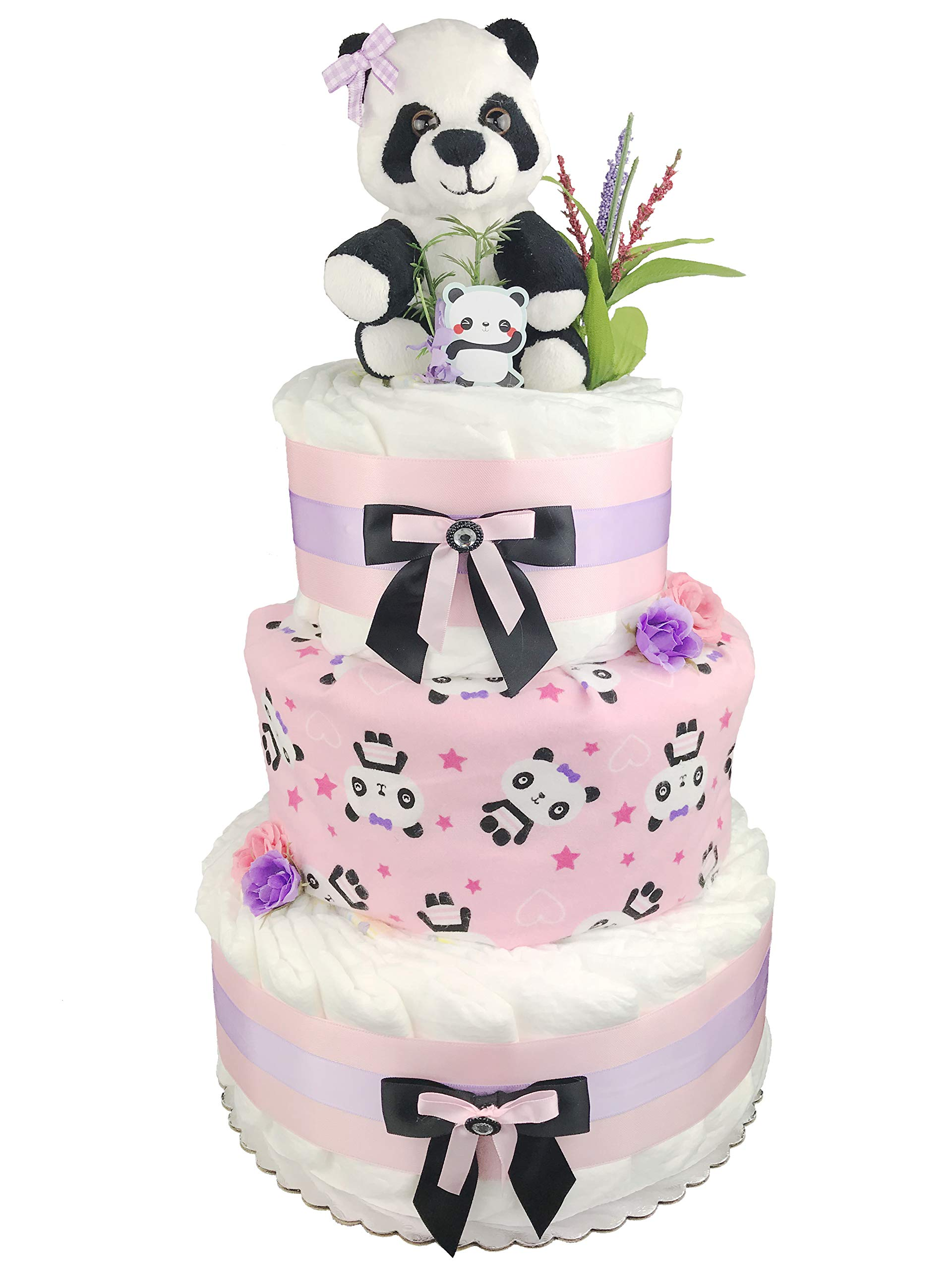 Panda 3-Tier Diaper Cake - Girl Baby Shower Gift - Pink Black and White