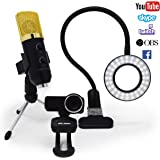 Streaming Camera, Streaming Equipment kit Includes Ausdom Full HD Widescreen 1080p Webcam, USB Microphone, LED Video Light. Perfect for Twitch, YouTube, OBS, Mixer. (Works with Xbox & Playstation)