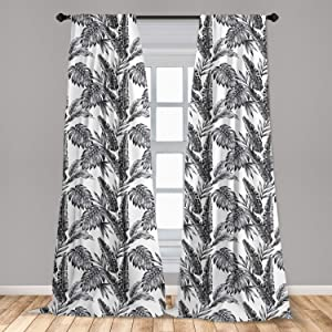 """Ambesonne Jungle Curtains, Monochrome Tropical Plants Palm Monstera Banana Leaves Island Nature Theme, Window Treatments 2 Panel Set for Living Room Bedroom Decor, 56"""" x 63"""", White and Black"""