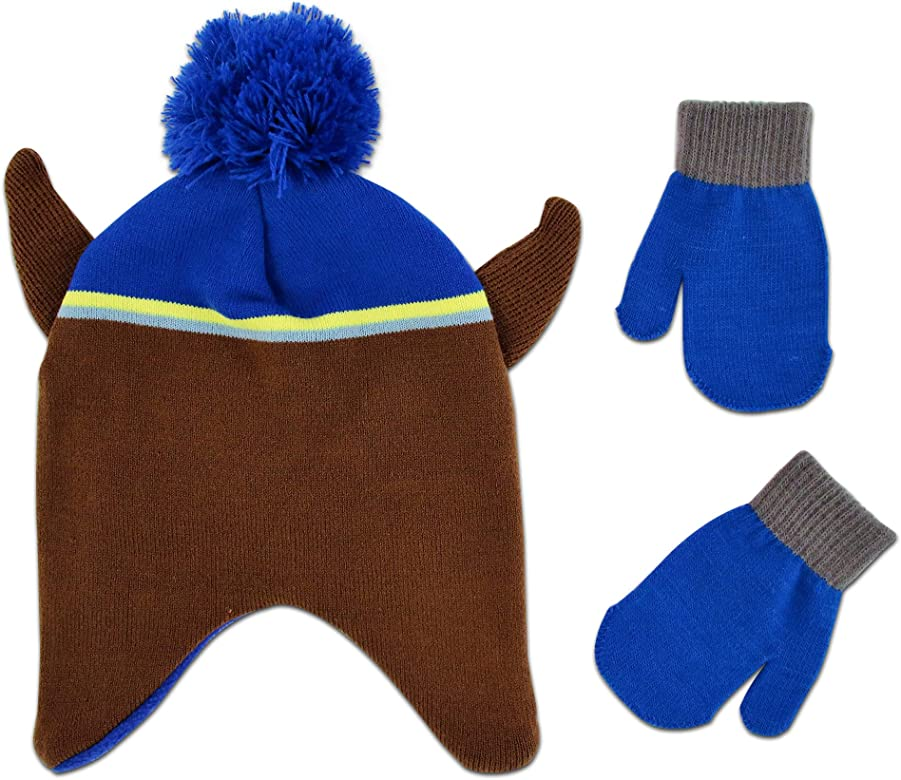 Paw Patrol Official Boys Winter Set Trapper Peruvian Style Hat and Gloves Marshall and Chase Character 2-8 Years