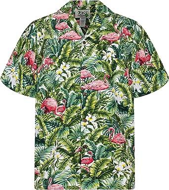 KYs | Original Camisa Hawaiana | Caballeros | S - 4XL | Manga Corta | Bolsillo Delantero | Estampado Hawaiano | Flamenco Flores Selva | Blanco: Amazon.es: Ropa y accesorios