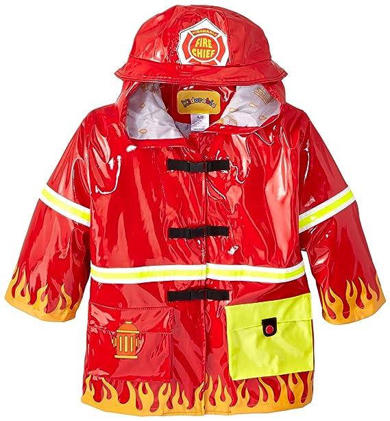 23e77e14d KIDORABLE Fireman Kids Rain Jacket, All Weather Raincoat, Red, Size 12-18