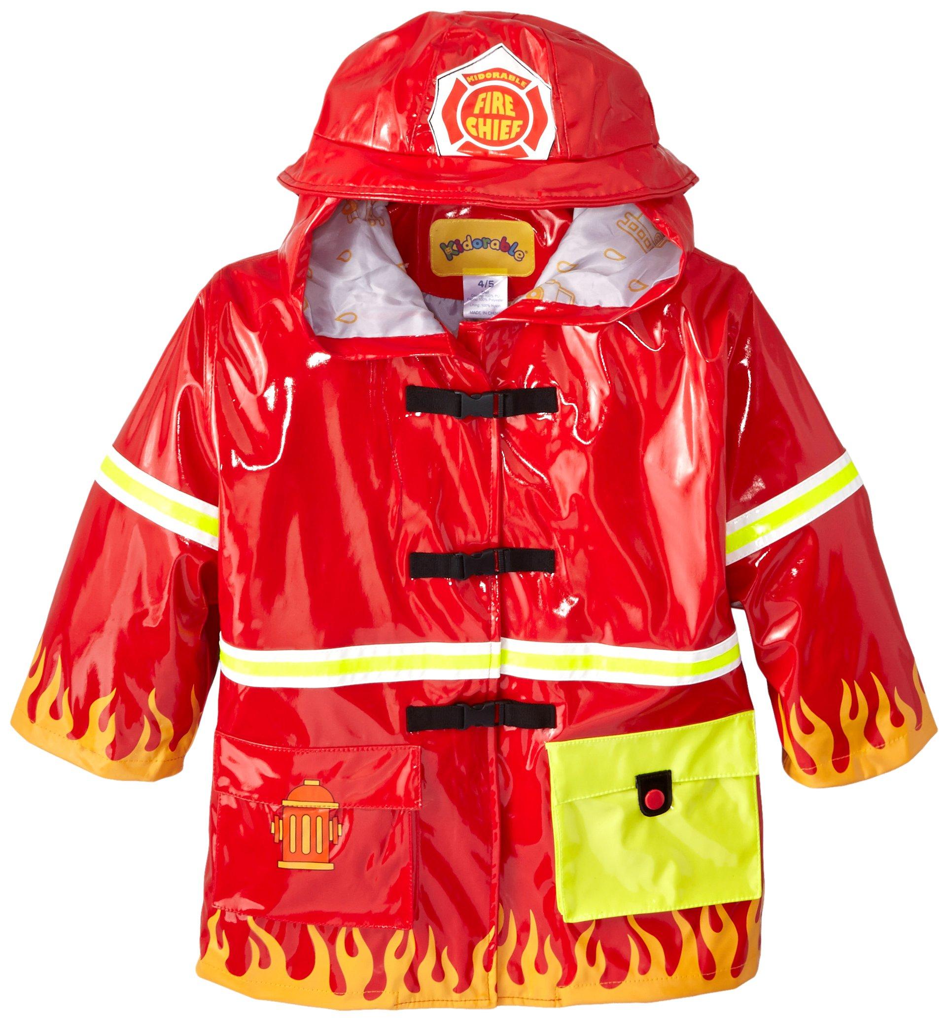 Kidorable Fireman Kids Rain Jacket, All Weather Raincoat, Red, Size 4/5, Big Kids (US Sizing), Waterproof, Machine Washable