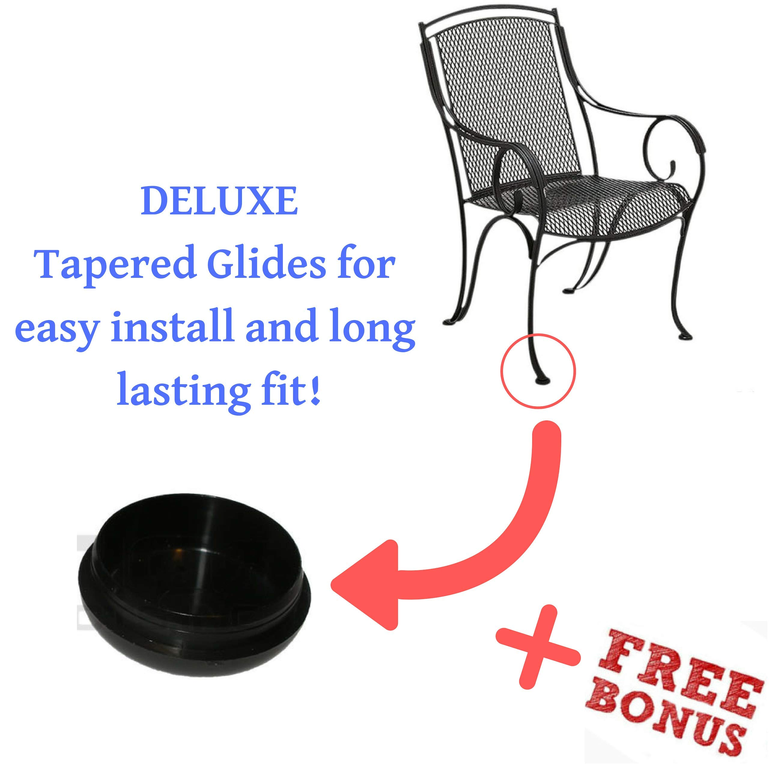 Patio Furniture Deluxe Feet Protectors 1.5'' - 28 Pack for Wrought Iron Outdoor Patio Chairs, Tables-Step-By-Step Instructions now included-Non-Scratching
