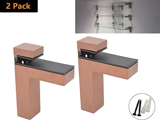 New Modern Contemporary Pair of Chrome Metal Wall Mounted Glass Shelf Brackets