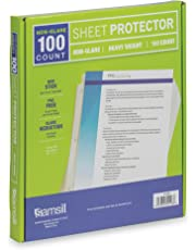 Samsill 100 Non-Glare Heavyweight Sheet Protectors, Reinforced 3 Hole Design Plastic Page Protectors, Archival Safe, Top Load for 8.5 x 11 Inch Sheets, Box of 100