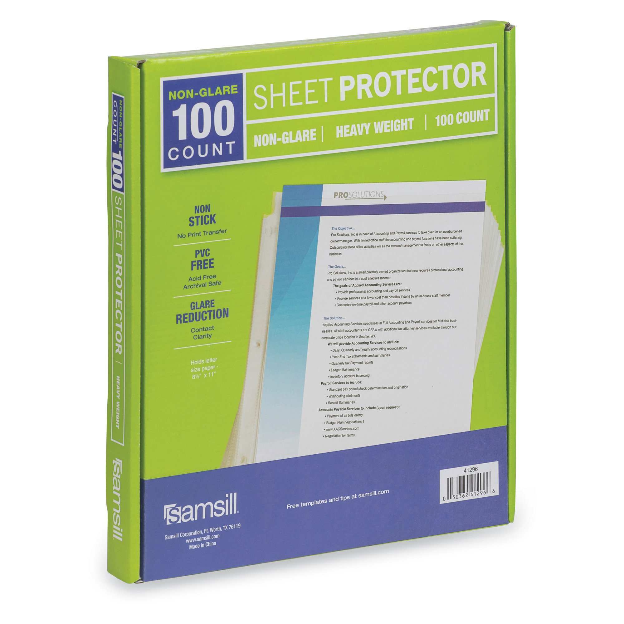 Samsill 100 Non-Glare Heavyweight Sheet Protectors, Reinforced 3 Hole Design Plastic Page Protectors, Archival Safe, Top Load for 8.5 x 11 Inch Sheets, Box of 100 by Samsill