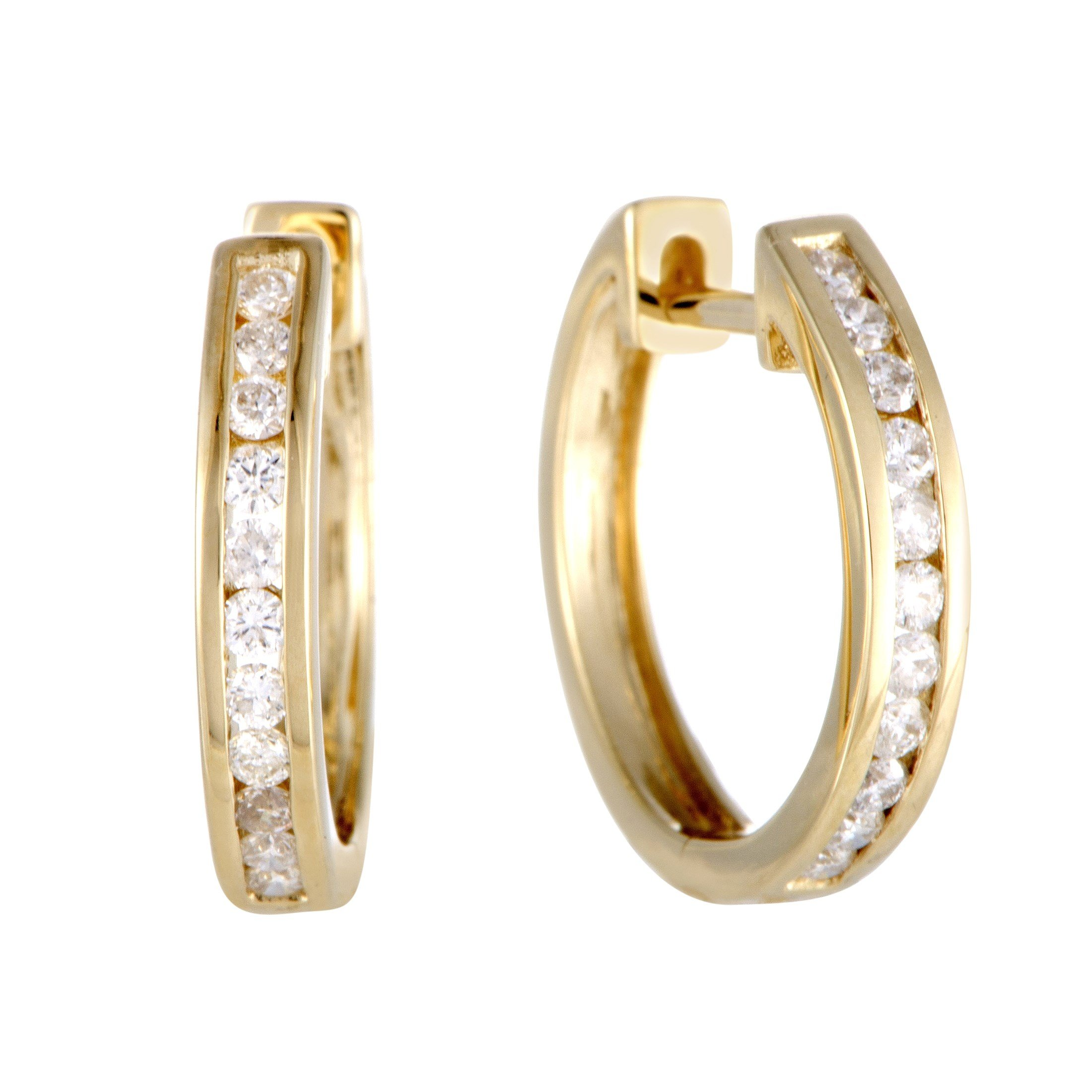 0.33 Carat (ctw) Round Diamond Hoop Earrings; 1/3 CT White Diamonds (G Color, SI1-SI2 Clarity) in 0.6'' 14K Yellow Gold Hoops