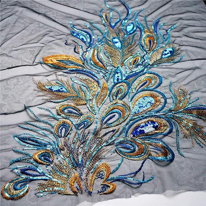 Dreamshome Gro/ße Stickerei Pailletten Pfauenfeder Stoff Spitze Applikation Netz Trim N/ähen Kragen Patch Motiv Hochzeit Kleid Braut DIY Handwerk blau