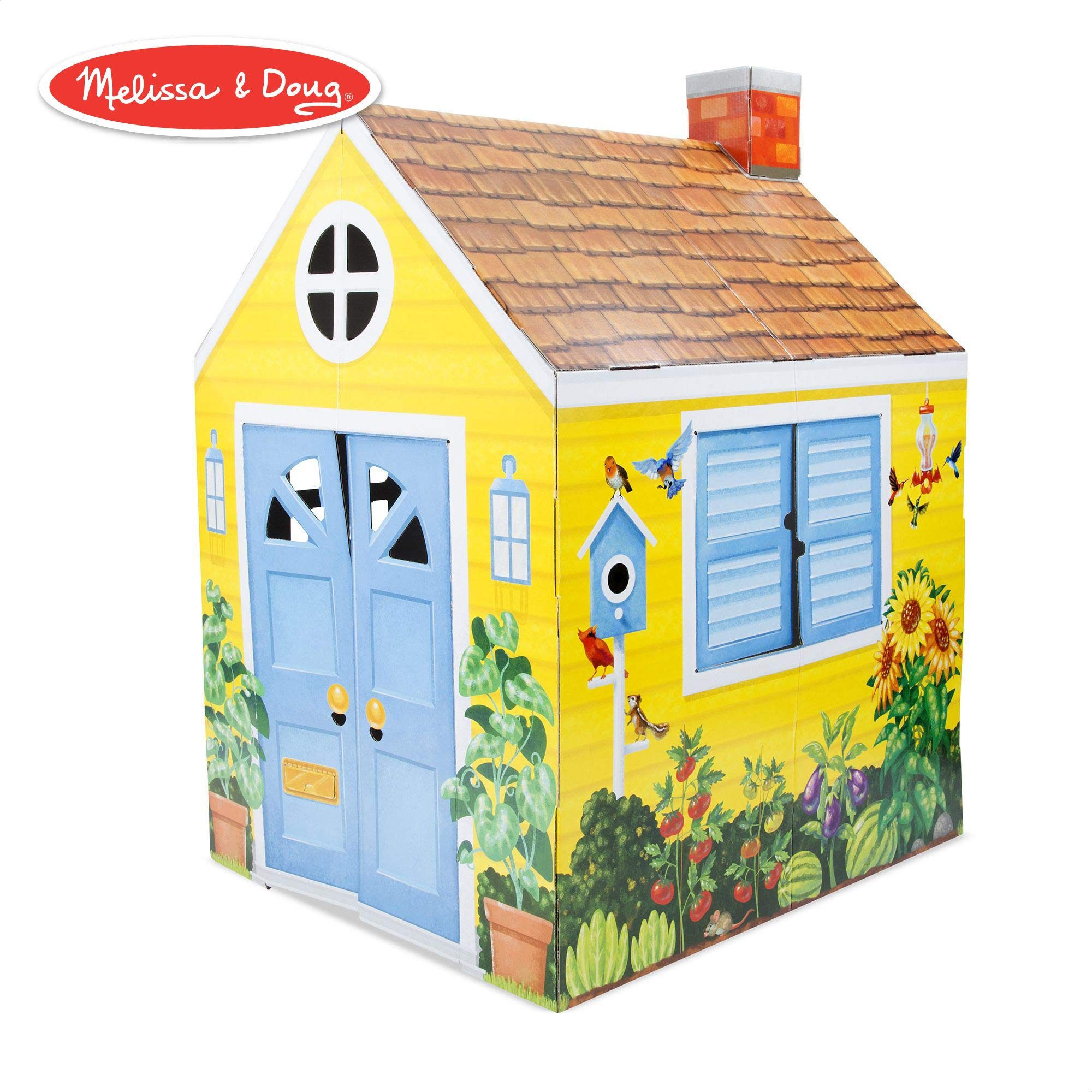 Melissa & Doug Country Cottage Indoor Playhouse (Role-Play Center, Sturdy Construction, Vibrant Exterior Artwork, 54'' H x 39'' W x 33.4'' L)