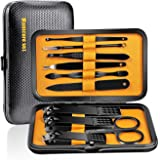 Manicure Set Nail Clippers Pedicure Kit 10 Pieces Stainless Steel Professional Grooming Kit Care Tools (Black/Yellow)