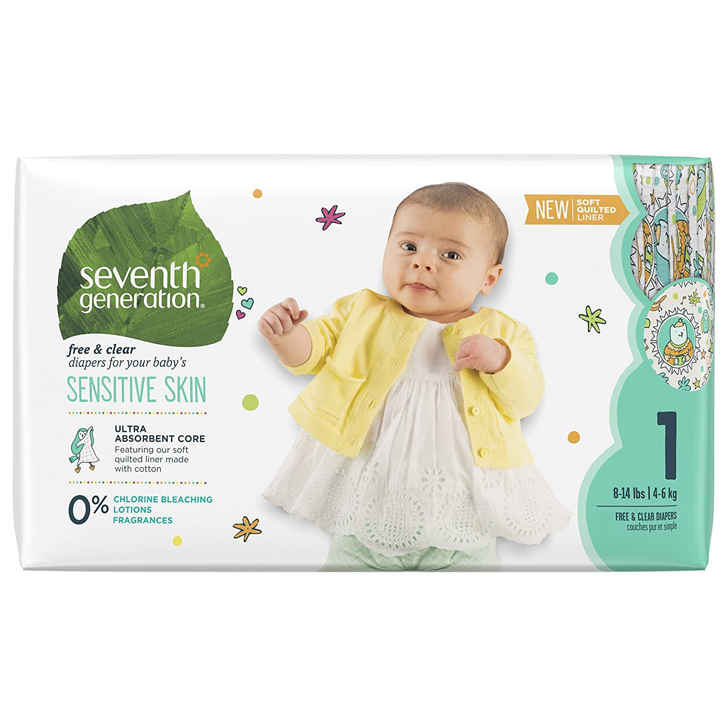 Seventh Generation Baby Diapers, Free and Clear for Sensitive Skin, with Animal Prints, Size 3, 155 Count (Packaging May Vary)