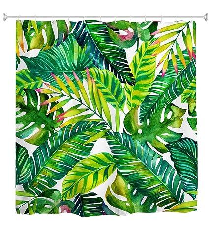 Goodbath Green Banana Leaf Shower Curtain Tropical Palm Leaves Waterproof And Anti Mildew Fabric