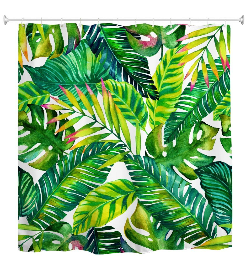 Goodbath Green Banana Leaf Shower Curtain, Tropical Palm Leaves Waterproof and Anti Mildew Fabric Shower Curtains with Hooks, 72 x 72 Inch, Green White