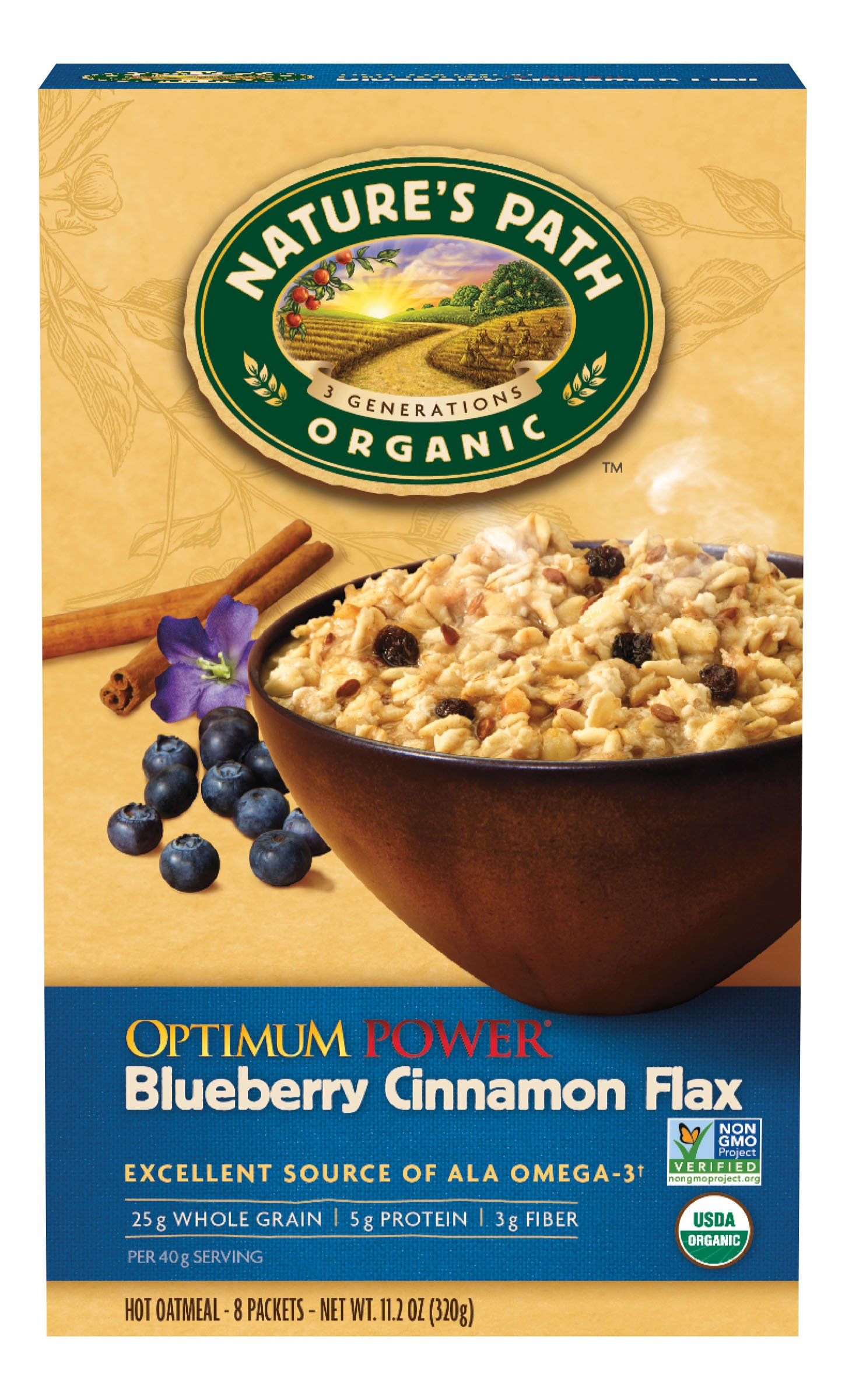 Nature's Path Optimum Power Blueberry Cinnamon Flax Hot Oatmeal, 11.2 Ounce (8 X 6 Pack)