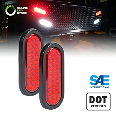 "2pc 6"" Red Oval LED Trailer Tail Light Kit [DOT FMVSS 108] [SAE STIP] [24 LED] [Grommet & Plug Included] [IP67 Waterproof] [Stop Turn Tail] Trailer Brake Lights for Boat Trailer RV Trucks: Automotive"