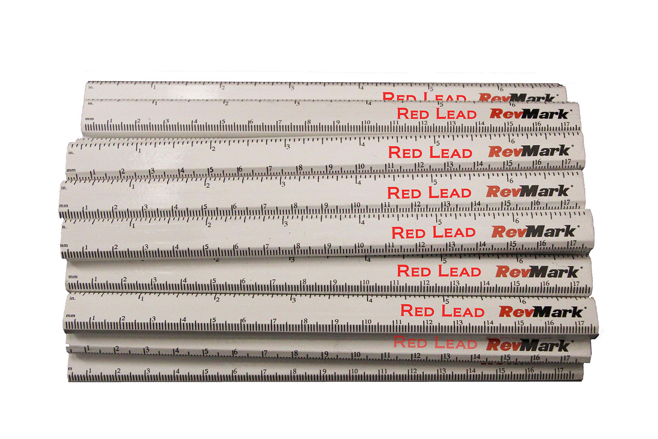 RevMark Carpenter Pencil 24 Pack White with Red Lead and Printed Ruler, Made in The USA. Quality Cedar Wood for Carpenters, Construction Workers, Woodworkers, Framers. Medium Lead Bulk Lumber Pencils by RevMark