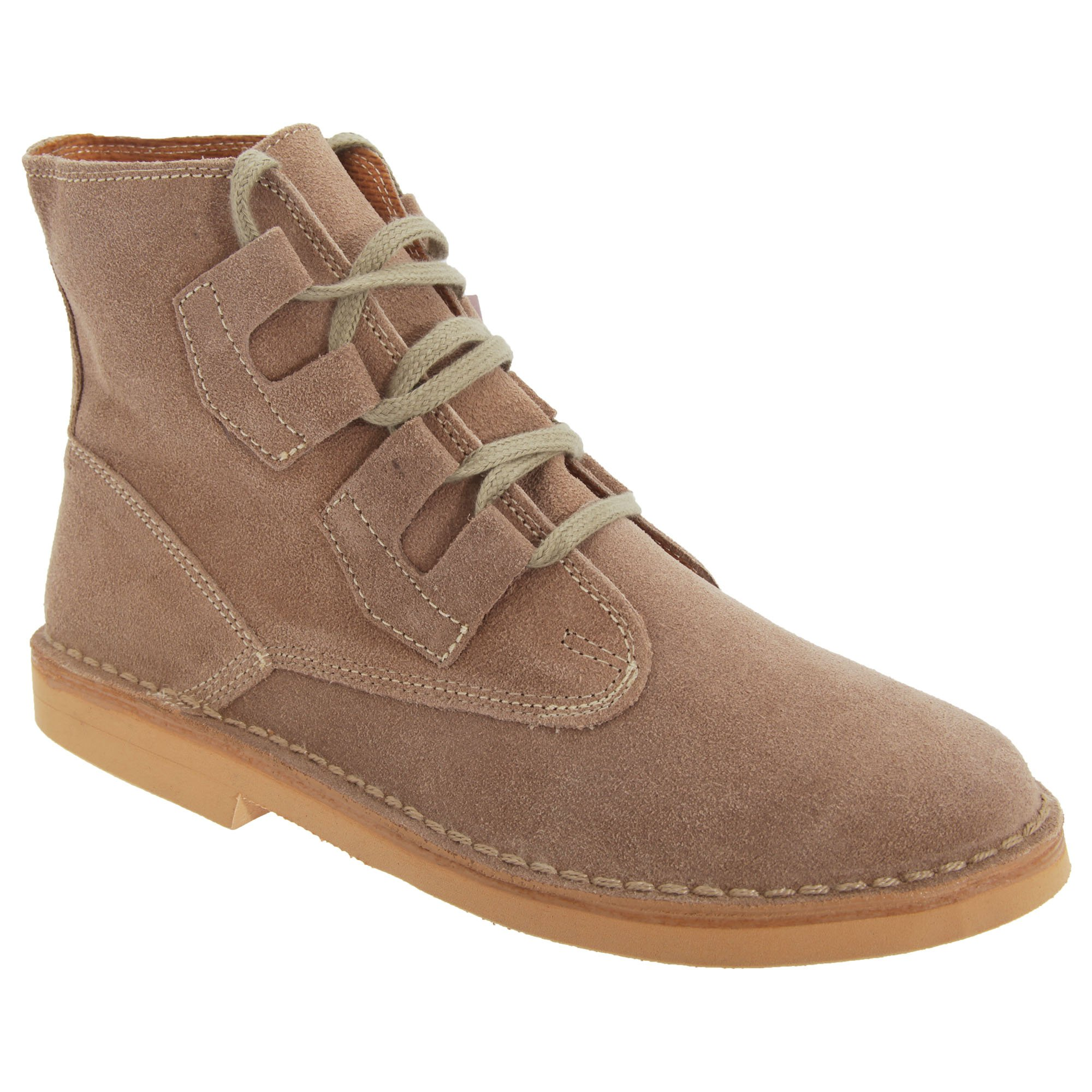 Roamers Mens Ghillie Tie Real Suede Desert Boots (10 US) (Dark Taupe)