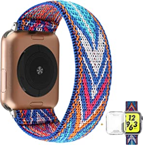 YOSWAN Compatible with Apple Watch Band 38mm 40mm Elastic Soft Nylon Solo Loop Starp Scrunchy Wristband, Women Men Cute Comfy Athletic Stretchy Bracelet Replacement Loop for iWatch SE Series 6 5 4 3 2 1 (Blue Arrow, 38mm/40mm L Size)