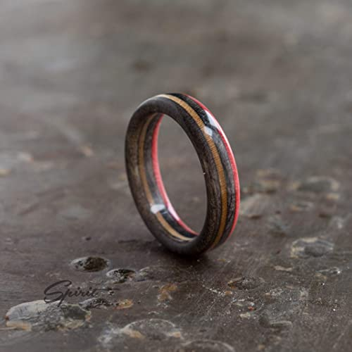Amazon Com Recycled Skateboard Ring Wood Ring Girlfriend Gift