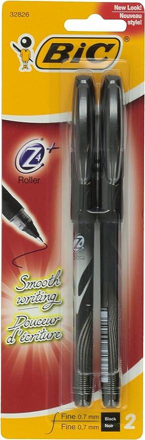 BIC Z4+Roller, Fine Point, 0.7mm, Black, 2 ct