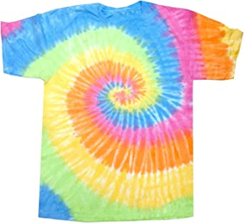 TALLA S. Colortone- Camiseta de manga corta gruesa de efecto teñido con arcoiris para chica/mujer