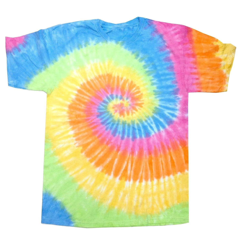 Colortone- Camiseta de manga corta gruesa de efecto teñido con arcoiris para chica/mujer