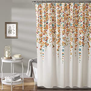 "Lush Decor Weeping Flower Shower Curtain-Fabric Floral Vine Print Design, x 72"", Turquoise and Tangerine, Turquoise & Tangerine"