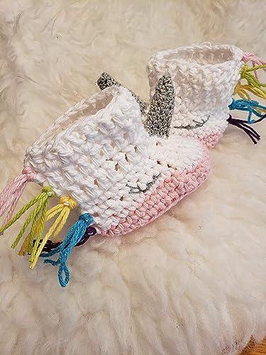 14a5e5ca2 Amazon.com: Crochet Unicorn Baby Booties. Average 3 to 6 month size ...