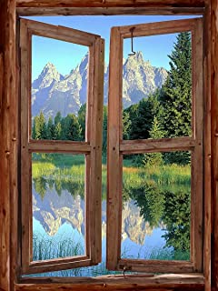 Mountain Cabin Window #1 Peel U0026 Stick Wall Mural 36 Inches Wide X 48 Inches