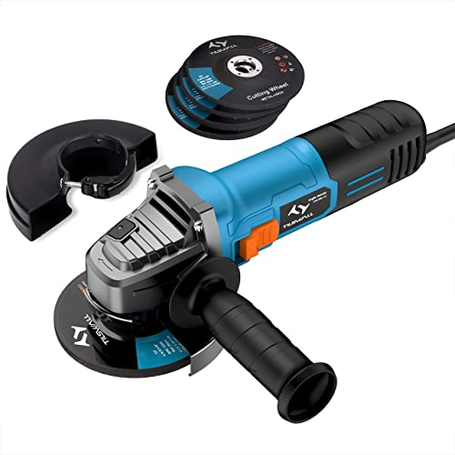 Angle Grinder Tilswall 4-1 2-inch Side Disc Grinder 7Amp 12000RPM Corded Tool with 3 Cut Off and 2 Grinding Polishing Abrasive Wheels with 2 Protective Cover